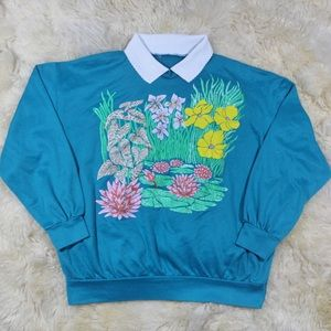Vintage floral print collared sweater🌼